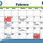 Calendarios Febrero para imprimir
