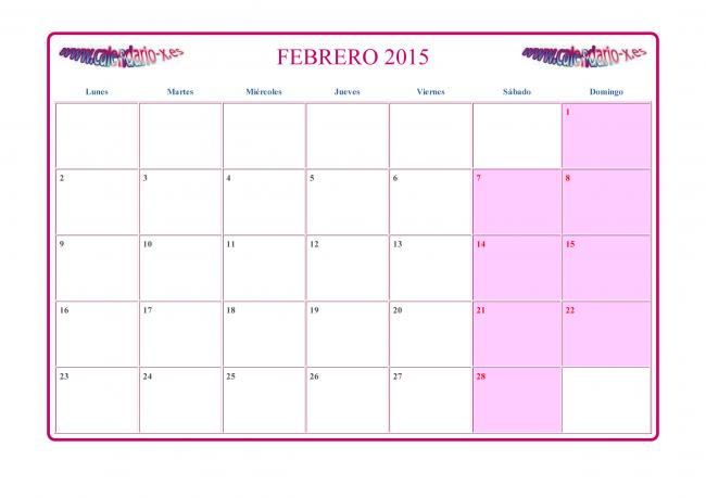 Calendario Febrero 2015