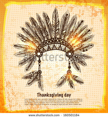 stock-vector-native-american-indian-headdress-with-feathers-in-a-sketch-style-orange-card-for-thanksgiving-day-160501184