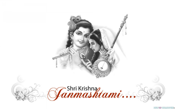 Shri-krishna-and-meera-janmashtami-black-and-white-grpahic