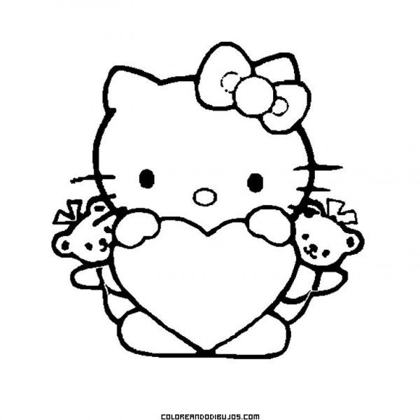 Hello-Kitty-con-un-gran-corazon-para-colorear