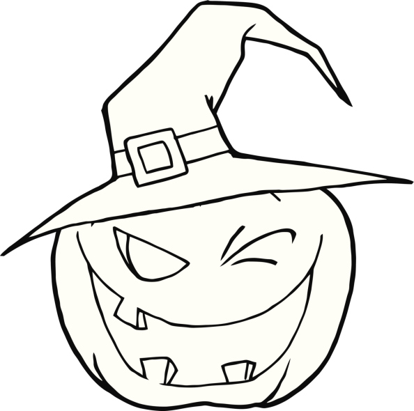 Black and White Winking Pumpkin Wearing A Hat