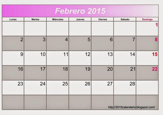 Calendario Febrero 2015 1