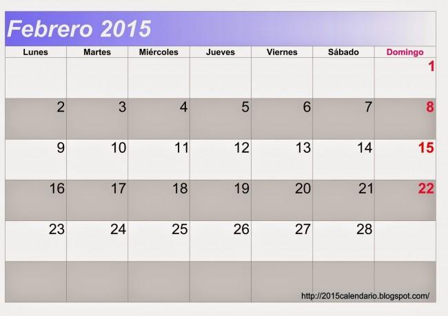 Calendario Febrero 2015 2