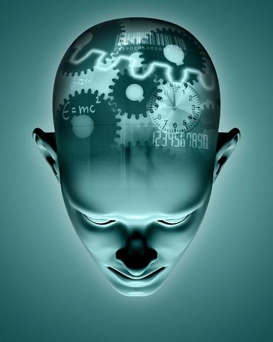 May 2004 --- Mechanical Thinking Process in Head --- Image by © Matthias Kulka/zefa/Corbis