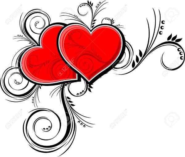 ... corazones-con-adornos-florales-aislados-en-fondo-blanco- ...