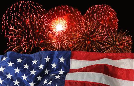 Ariel fireworks display behind a fluttering U/S. Flag.